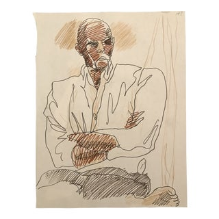1970s Vintage Portrait of a Man Drawing by James Bone For Sale