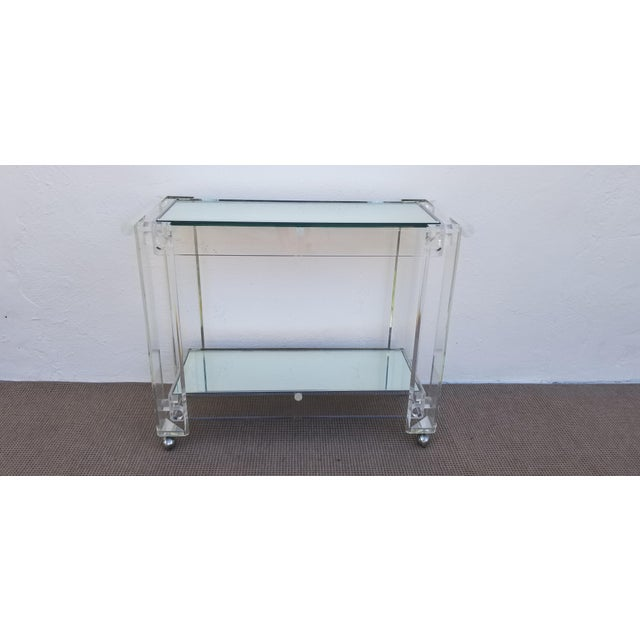1970s Lucite Mirrored Glass Bar Cart For Sale - Image 13 of 13