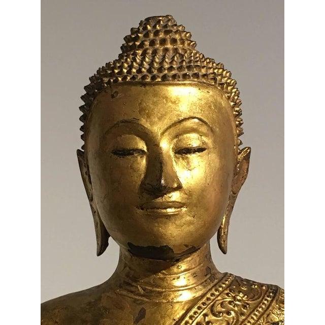 Thai Rattanakosin Lacquered Gilt Bronze Image of Buddha Maravijaya For Sale - Image 9 of 10
