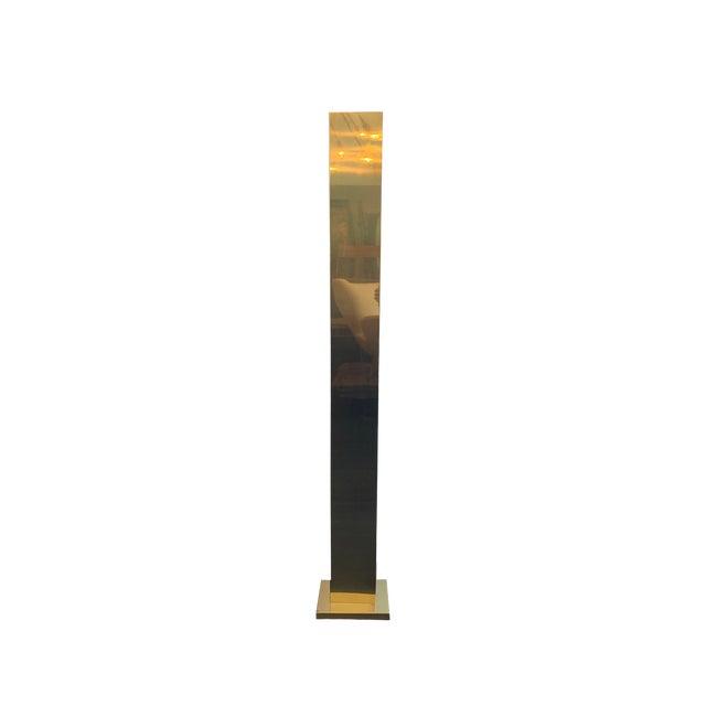 Mid Century Modern Brass Patina Pylon Torchier For Sale
