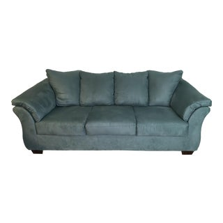 Large Sky Blue Upholstered Sofa For Sale
