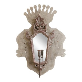 French Rococo Mirrored Candle Sconce