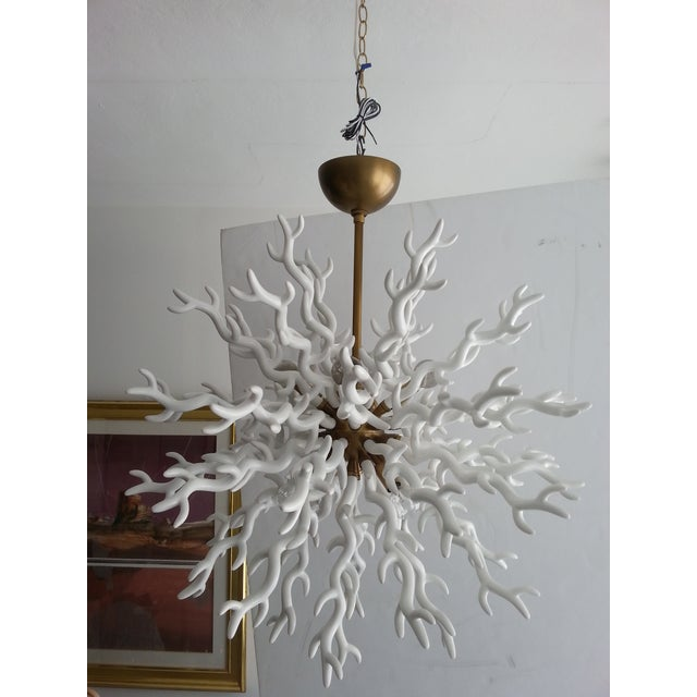 2010s White Faux Coral Chandelier Tony Duquette Style For Sale - Image 5 of 9