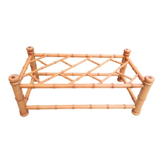 Vintage Chinese Chippendale Faux Bamboo Rectangular Palm Beach Regency Coffee Table For Sale