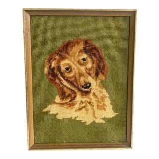 Needlepoint of Collie Dog Framed Vintage For Sale