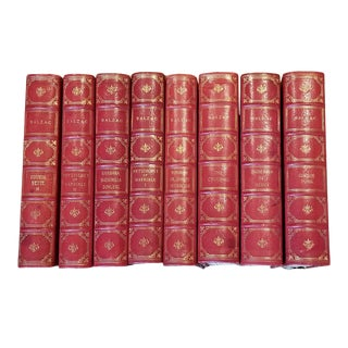 8 Red Leather Books Balzac For Sale