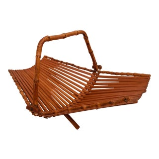 Japanese Mid Century Folding Bamboo Basket With Handle For Sale