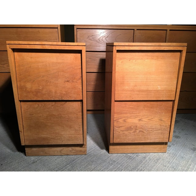 Mid-Century Modern Solid Wood Nightstands - A Pair - Image 4 of 5