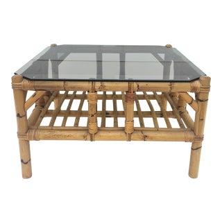 Vintage Bamboo Boho End Table