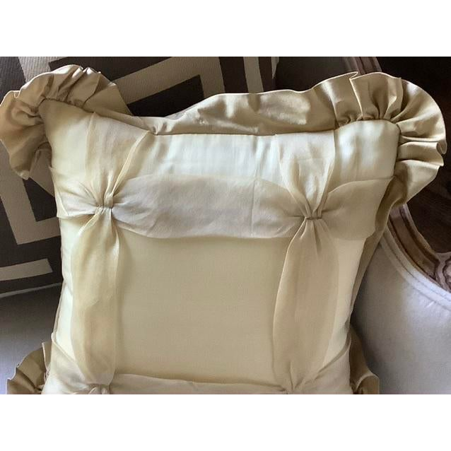 Custom Golden Silk and Taffeta Pillow For Sale In Portland, OR - Image 6 of 7
