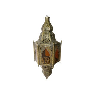 Vintage Moroccan Brass & Amber Glass Pendant Light For Sale