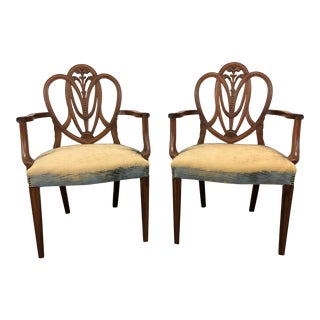 Mahogany Hepplewhite Prince of Wales Dining Arm Chairs - Pair For Sale