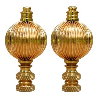 Ribbed Brass Ball Lamp Finials - a Pair For Sale