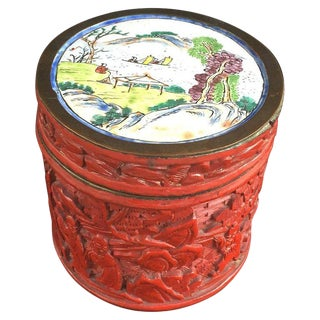 1900 Chinese Chung Hsing Genuine Cinnabar Carved Lacquer Box For Sale