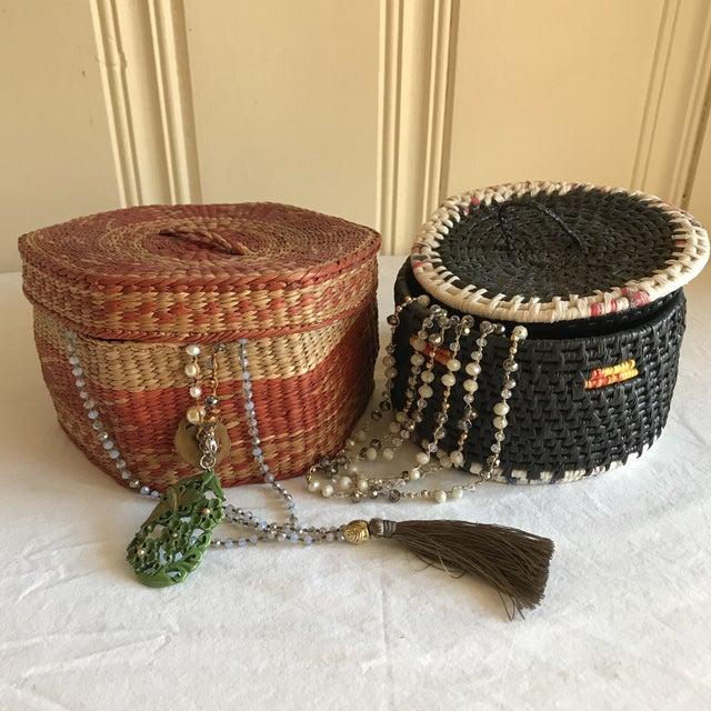 Natural Woven Boho Basket Boxes - A Pair - Image 6 of 10