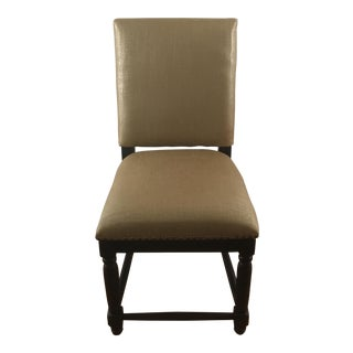 Contemporary Gold Linen Side Chair, Pair Available For Sale