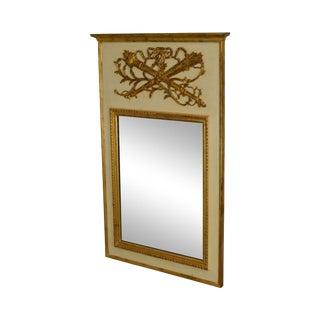 Palladio Italian Partial Gilt Louis XVI Style Trumeau Mirror For Sale