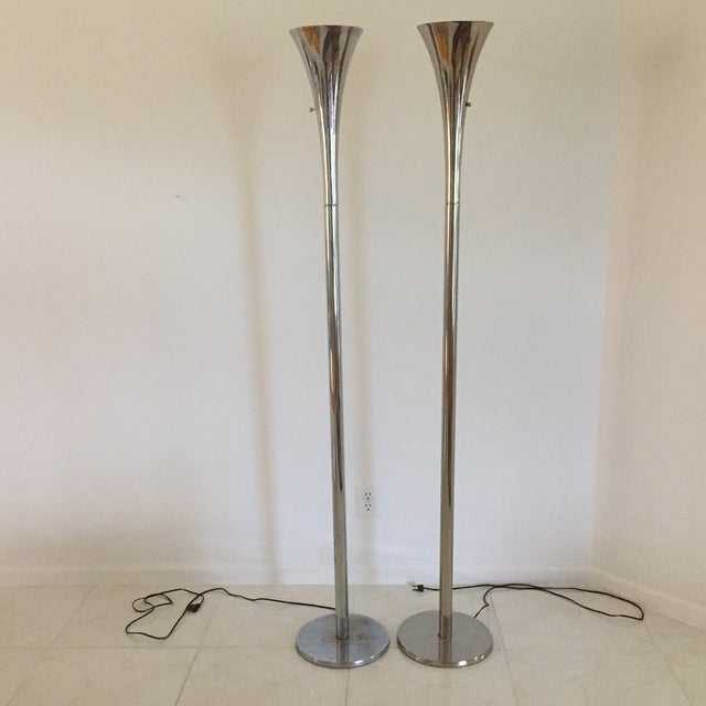 1970s Modern Chrome Tulip Uplighting Torchieres Floor Lamps - A Pair For Sale - Image 13 of 13