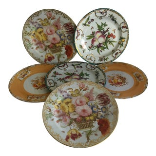 Vintage English Museum Floral Metal Plates - Set of 6
