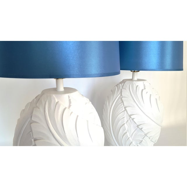 1960s Restored 1960s Plaster Palm Tree-Banana Leaves Table Lamps - a Pair-Serge Roche Mid Century Modern MCM Tropical Coastal Palm Beach Boho Chic For Sale - Image 5 of 11