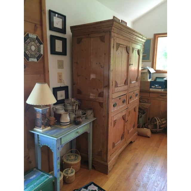 Charming Old Rustic Pine Linen Press Cabinet - Image 6 of 11