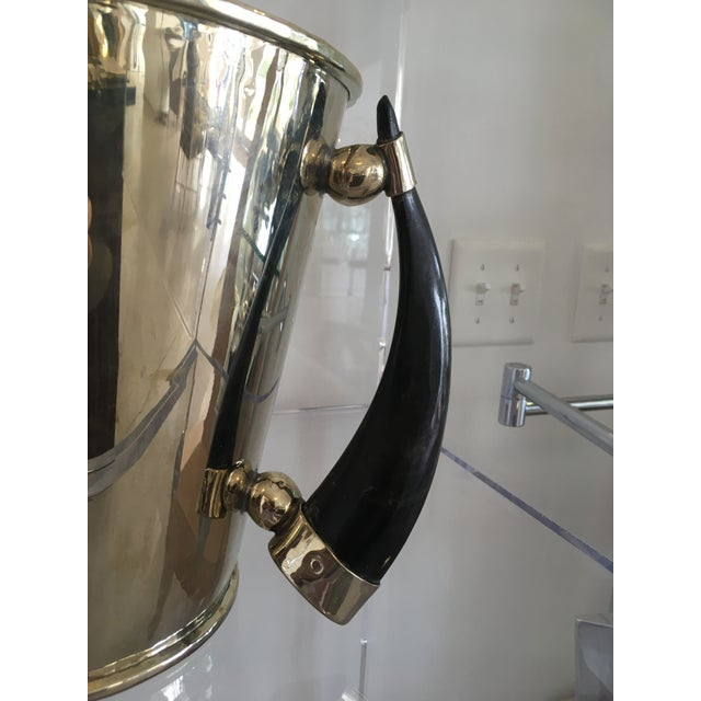 Silver Plate Wine Cooler Ice Bucket With Horn Handles For Sale - Image 9 of 13