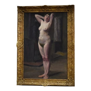 Early 20th C French Nude Portrait Painting For Sale