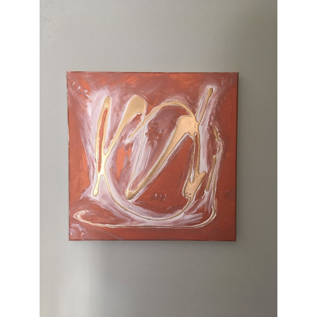 Original Red & Gold Abstract Painting - Image 2 of 3