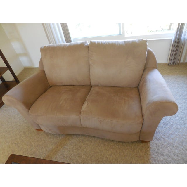 """A gorgeous loveseat """"Florence"""" by Natuzzi. Covered in beige micro-suede material. Hardly ever used, extremely comfortable,..."""