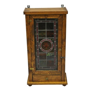 Vintage Leaded Stained Glass Wall Hanging Cabinet For Sale