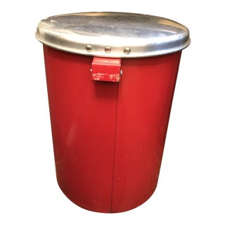 Vintage Red Step-On Waste Basket
