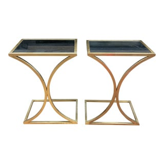 Gold Leaf + Mercury Glass Finish End Tables, a Pair For Sale