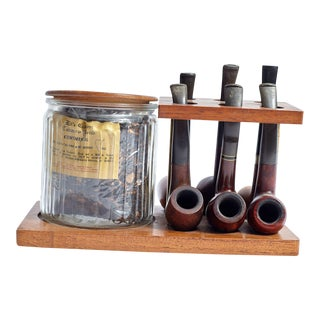 Vintage Pipes on Brown Stand With Tobacco - Set of 6