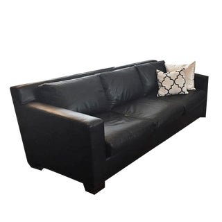 Modern Black Leather Sofa Couch For Sale