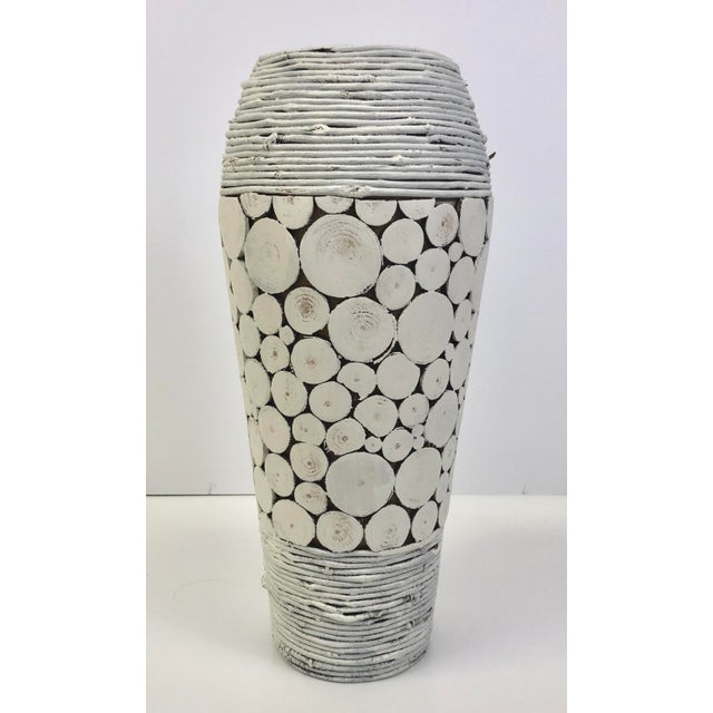 Shabby Chic White Wooden Vase or Umbrella Stand - a Pair For Sale - Image 3 of 5