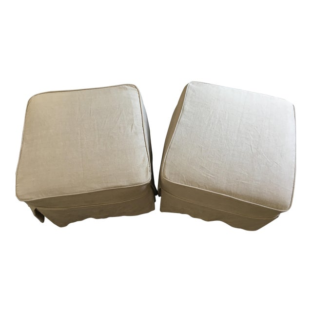 Linen Covered Ottomans - Pair - Image 1 of 6