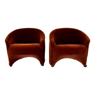 1980s Hollywood RegencyWard Bennett Mohair Club Chairs - a Pair