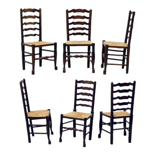 Set of Six English Ladderback Rush-Seat Farm Chairs For Sale