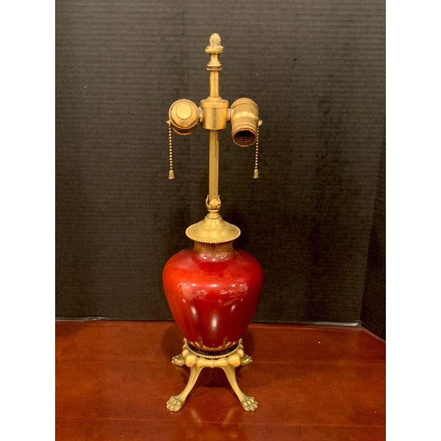 Sang De Boeuf, Ormolu Mounted Vase, by Rookwood 1936, Now as a Lamp, Light Glaze For Sale - Image 4 of 7
