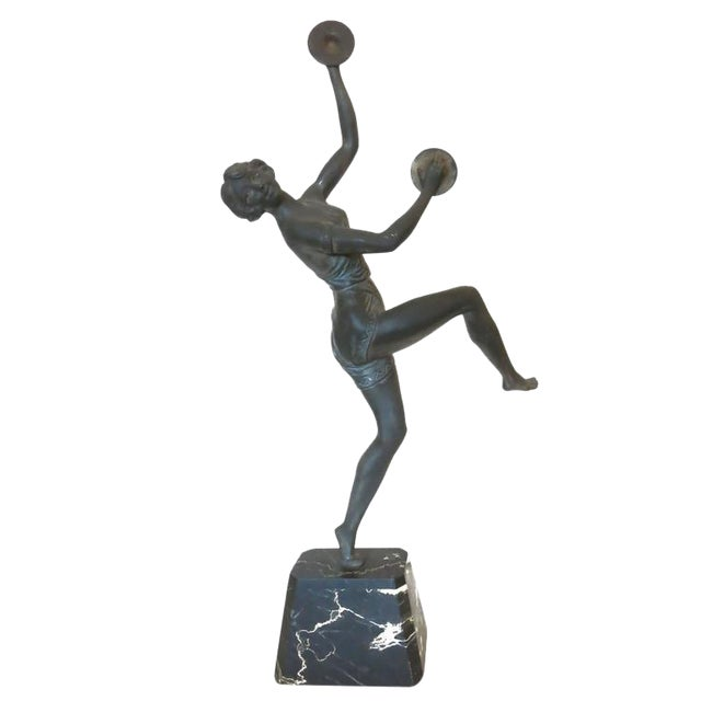 Art Deco Alliot Style Bronze Figural Statue of a Dancer with Cymbals - Image 1 of 6