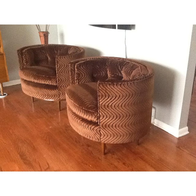Mid-Century Tufted Club Chairs - A Pair - Image 3 of 7
