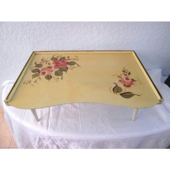 Vintage Tole Yellow & Rose Breakfast Tray - Image 2 of 6