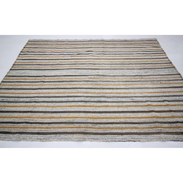 Contemporary 1960s Vintage Striped Kilim Rug- 6′10″ × 8′10″ For Sale - Image 3 of 7