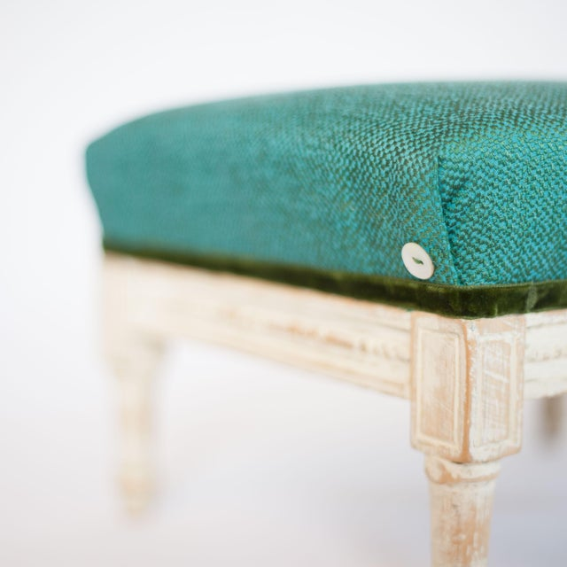 19th Century Antique French Emerald and White Patina Footstool For Sale - Image 4 of 12