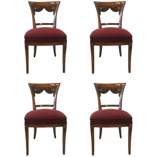 1950s Vintage Italian Carved Side Chairs- Set of 4 For Sale
