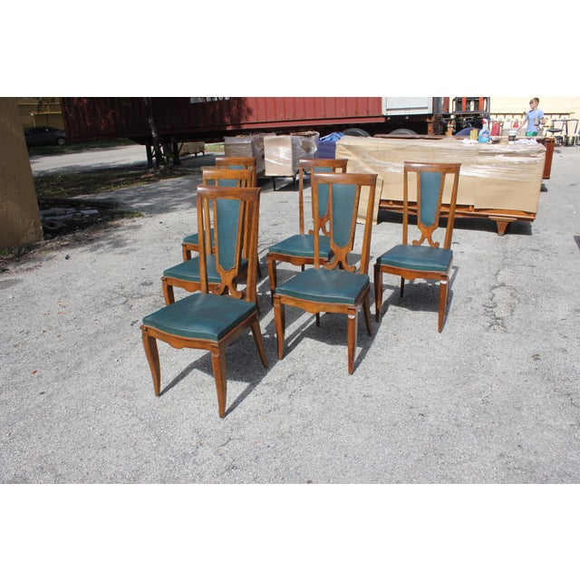 1940s 1940s French Art Deco Solid Mahogany Dining Chairs by Jules Leleu - Set of 6 For Sale - Image 5 of 13