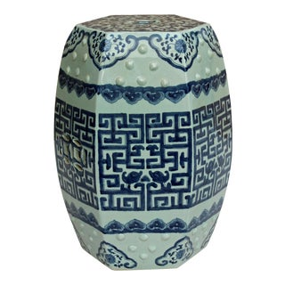 Chinese Blue & White Porcelain Scenery Hexagon Pattern Stool Table