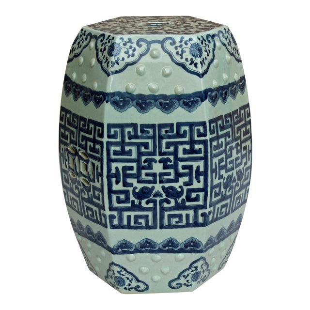 Chinese Blue & White Porcelain Scenery Hexagon Pattern Stool Table For Sale