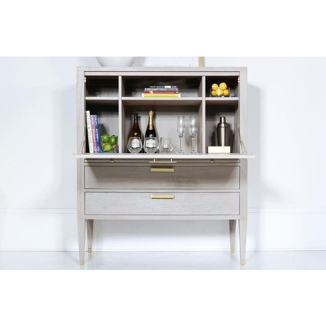 Brass Carlyle Secretary in Grey For Sale - Image 7 of 10