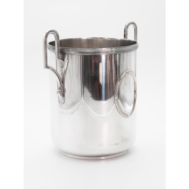 A lovely Mid-Century French silverplate champagne bucket or wine cooler. Signed on reverse. This fine quality ice bucket...